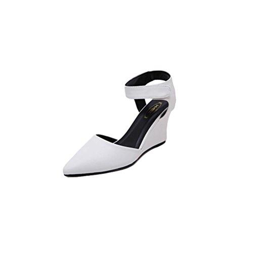 35 E Elegante Pendenza 34 Con Pu Highxe Confortevole White Sandali Colore In Alti Caramelle Puntata Tacchi PqdHvOdw1x