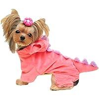 Hotumn Dinosaur Dog Halloween Costume Pet Dino Hoodie for Small Dogs(Pink,XS)