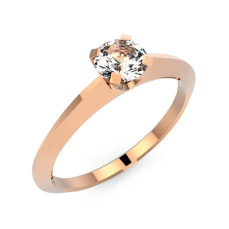 ANGI Bagues Or Rose 18 carats Saphir Blanc 0,6 Rond