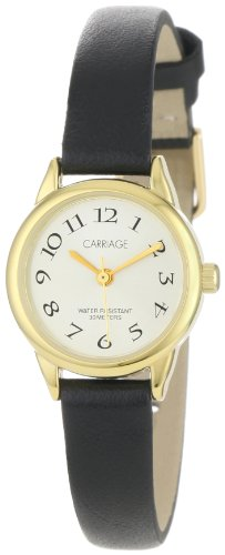 Timex By Carriage - Carriage Women's C3C602 Gold-Tone Round Case Black Strap Watch