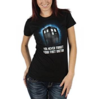 Dr. Who - First Doctor Womens T-Shirt in Black, Size: Small, Color: Black