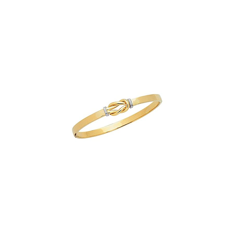 14K Solid Yellow Gold Knot Bangle Bracelet 7 Inches