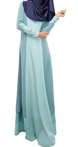 Middle Coolred East Muslim Blue Lace Women Abaya Light Dress Splicing UnFASqv