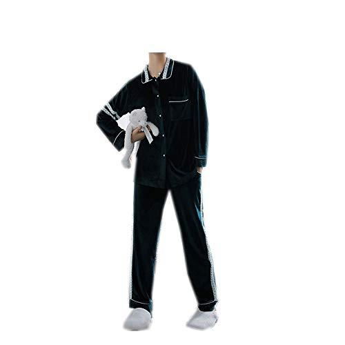 Larga Mujer De Piezas Terciopelo Dos Grueso Green Para Manga Encaje Mmllse Pijama tw7Ocx