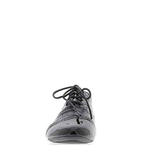 Richelieux noirs à talonnette de 2 cm et lacets bi matière