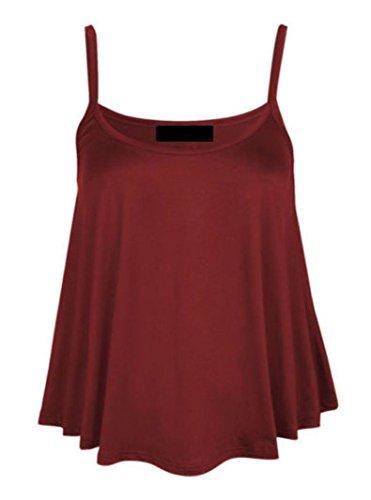New Womens Ladies Plus size plain sin mangas Swing de mecánico tiras Cami chaleco Tops UK 8–�?0 Rojo