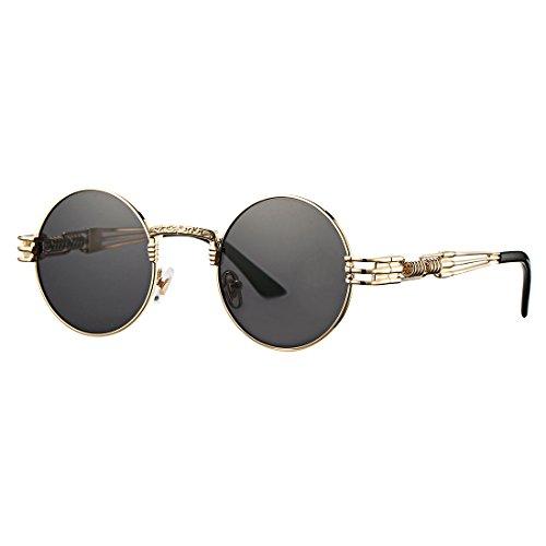 COASION Vintage Round Circle John Lennon Steampunk Gothic Sunglasses Metal Frame for Men Women (A Gold Frame/Black - Lennon Like John Sunglasses