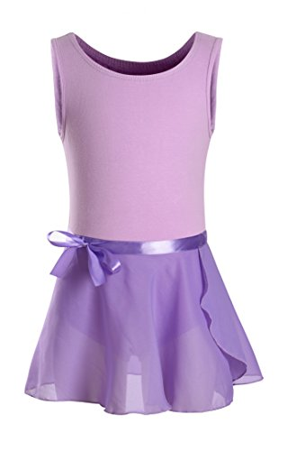 Ballet Unitard (DANSHOW Girls' Classic Tank Top Skirted Leotard for Kids Gymnastics Training Dance Ballet Unitard (6-8, Purple))