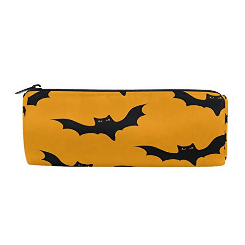 ALAZA Happy Hallowee Pen Pencil Case Bag,Hipster Bats Orange Pattern Purse Pouch Cosmetic Bag Stationery Organizer for School Boy Girl Teens Office Work