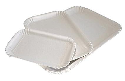 Bandejas de cartón blanco para repostería – Lote de kg. 10 – Bandeja rectangular desechable