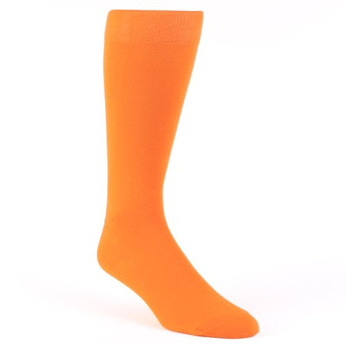 Boldsocks Tangerine Orange Solid Color Men's Dress Socks (Mens Orange Dress Socks)