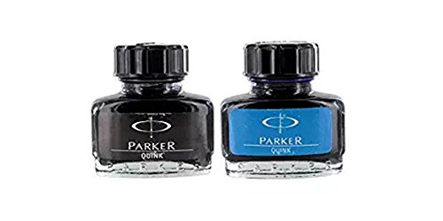 Parker Quink Fountain Pen Ink Bottle - Blue Ink 30ml + Black Ink 30ml - Combo Pack (Black Ink Bottle)