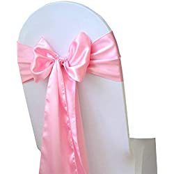 mds Pack of 50 Satin Chair Sashes Bow sash for Wedding and Events Supplies Party Decoration Chair Cover sash -Pink