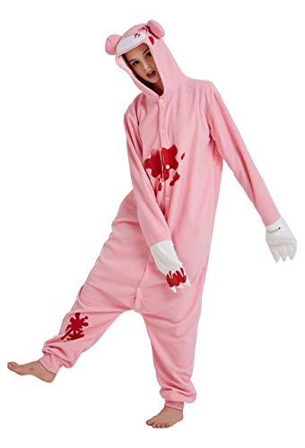 AceChic Animal Onesie Pajamas Adult Cartoon Sleepsuit Halloween Cosplay Costume Homewear Pink Gloomy Bear -