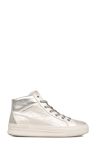 CRIME London Damen 25020KS110 Silber/Weiss Leder Hi Top Sneakers