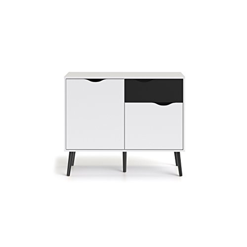 Tvilum 7538749gm Diana Sideboard with 2 Doors and 1 Drawer, White/Black Matte (Black White Sideboard And)