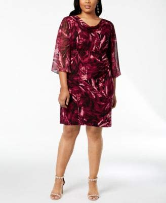 - Connected Plus Size Purple Chiffon Sleeve Floral Print Sheath Dress W