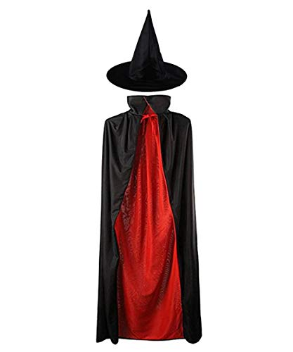 MEZETIHE Unisex Kids 35'' Black and Red Magician Christmas Cape with Witch Hat Winter Snow -
