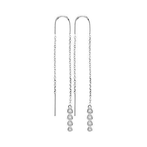 The Diamond Deal 10kt White Gold Womens Round Bezel-set Diamond Dangle Threader Earrings 1/12 - Dangle Earrings Diamond Bezel Set