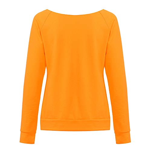 Sweatshirt Women KW Long Pumpkin Orange Halloween Shirt Casual Sleeve Pullover Print T vrdxdwFq