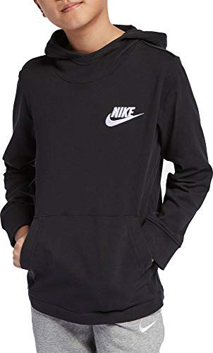 Nike Boy's Sportswear Exclusive Jersey Hoodie (Black, Medium)