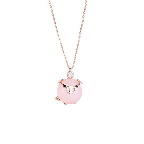 Beautyolove Crystal Cute Pig Pendant Necklace Earrings Pet Series Jewelry Pig Necklace for Women Girls Jewelry Birthday Gift ()
