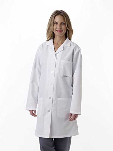 (Medline MDT11WHTST32E Women's Staff Length Silver Touch Antimicrobial Lab Coat, White)