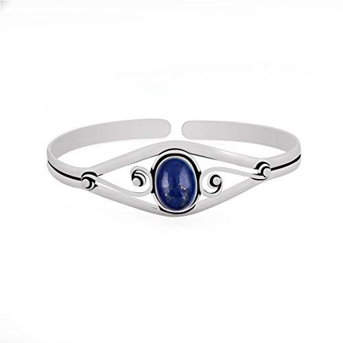 Sterling Lapis Bracelet - 13.50gms, 6.00ct Genuine Lapis .925 Silver Overlay Handmade Fashion Cuff Bangle Jewelry