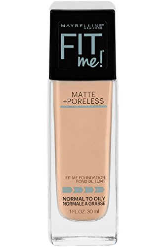 Maybelline Fit Me Matte + Poreless Liquid Foundation Makeup, Creamy Beige, 1 fl. oz. Oil-Free Foundation