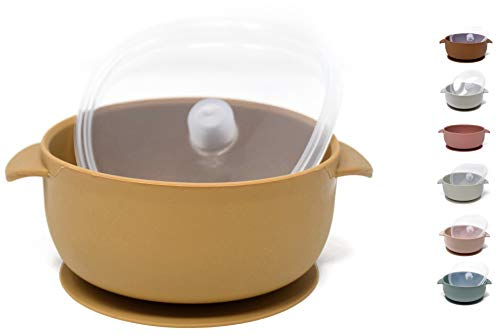 The Dearest Grey, Toddler Silicone Baby Bowls, Best Stay Put Suction Bowl,for Babies Kids & Toddlers,Comes with 100% Leak Proof lid, Dishwasher & Microwave Safe (Mustard)