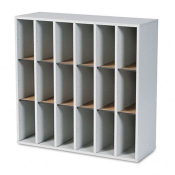 Wood Mail Sorter with Adjustable Dividers, Stackable, 18 Compartments, Gray