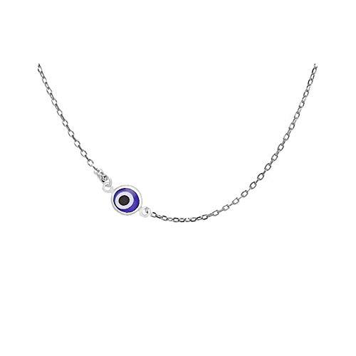 RUIZHEN Lucky Evil Eye Necklaces Blue Eyes Choker Necklace (Sideways-Silver) ()