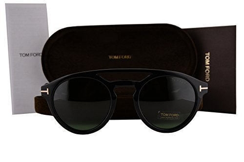 Tom Ford FT0537 Clint Sunglasses Black w/Green Lens 01N TF537 by Tom Ford