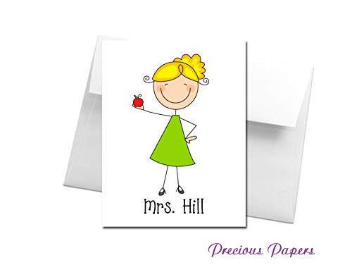 Personalized Teacher stick figure note cards with apple make a great teacher gift for Teacher Appreciation or end of year ()