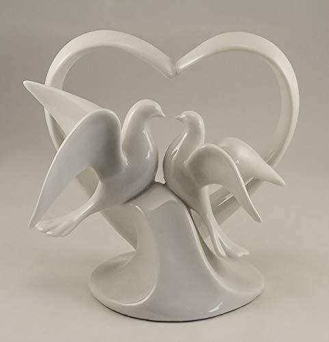 - Glazed Porcelain Love Doves with Heart Cake Topper - Elegant White Dove Pair Wedding Figurine