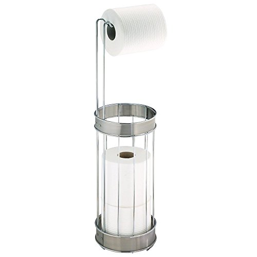 InterDesign Bruschia Free Standing Toilet Paper Holder – Dispenser and Spare Roll Storage for Bathroom, Chrome/Brushed Stainless Steel Stainless Steel Spare Toilet Paper