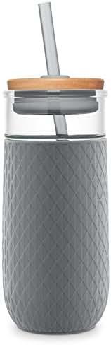 Ello Devon 20OZ Glass Tumbler with Straw