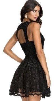Vestido de fiesta negro para mujer sin mangas, con falda de vuelo y diseño de encaje, talla L equivalente a talla 40