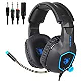 SADES Gaming Headset for Xbox One, PS4, Nintendo Switch, Bass Surround Sound Over-Ear 3.5mm Stereo Wired Headphones with Flexible Mic and Volume Control for Laptop PC  Smartphones