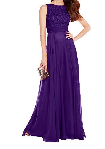 Spitze Damen A Abendkleider Rock Partykleider Ballkleider Chiffon Dunkel Charmant Violett Linie Langes Brautmutterkleider EpcSfEd