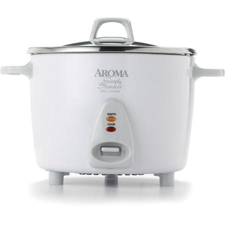 Restaurant-Quality 14-Cup Rice Cooker with Stainless Steel Surface, Automatic Keep-Warm, White by Aroma