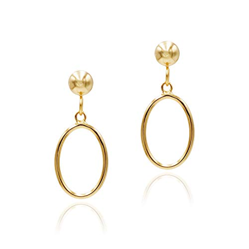 Sea of Ice Yellow Gold Flashed Sterling Silver Open Oval Drop Dangle Hoop Earrings 5mm Bead Post for Women