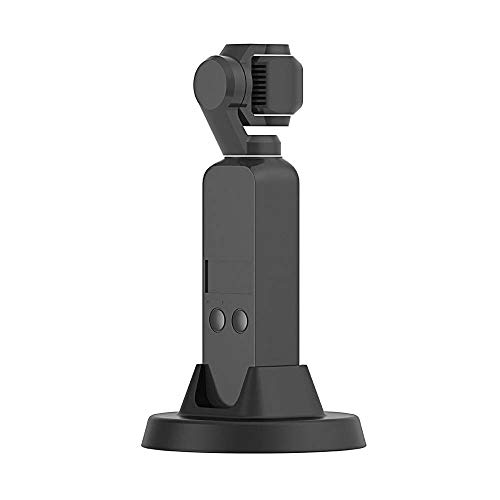 BoKo Black Fireproof Materials Durable Travel Mini Round Portable Desktop Charger Base, Compatible DJI Osmo Pocket, Multi-Function Expansion 1/4 inch Screw Quick Charge Hand Free (Black) ()