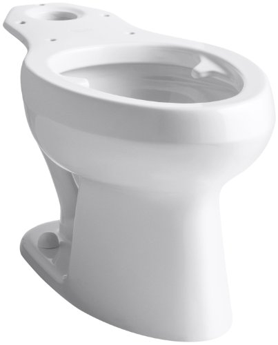 (Kohler K-4303-L-0 Wellworth Pressure Lite Toilet Bowl with Bed Pan Lugs, White)