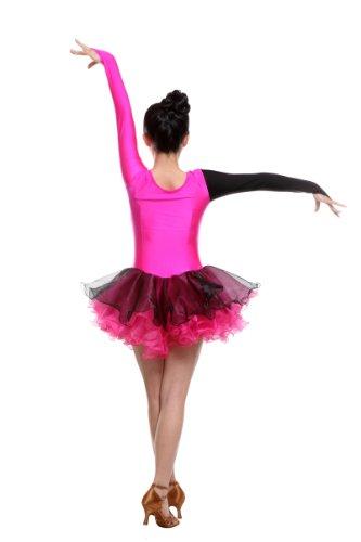 Frauen Samba cha Turnierkleid cha Pink Tänze Kleid Colorfulworldstore Latin Cha Rumba für Reguläres Mädchen Lateinamerikanische Schwarz ztWwEq7