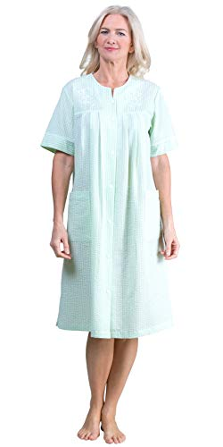 Miss Elaine Short Robe - Snap Front Seersucker Robe in Mint Check (Mint/White Check, Small) ()