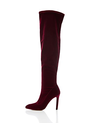 Stretch Velvet Red Boot The FIND Women's Over Knee wgIqXRS