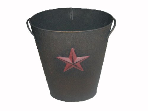 Craft Outlet Black Tin Bucket with Star, 10.75 by 12-Inch