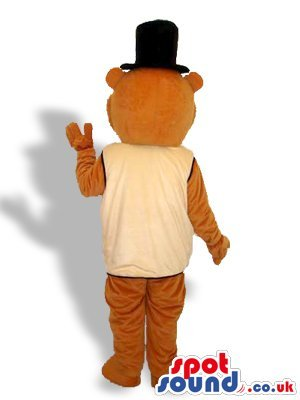 Groundhog Costumes (Elegant Groundhog Or Beaver SPOTSOUND US Mascot Costume With A Vest And Top Hat)