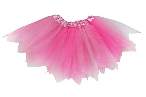 So Sydney Adult Plus Kids Size Pixie Fairy Tutu Skirt Halloween Costume Dress Up (M (Kid Size), Pink & Neon -
